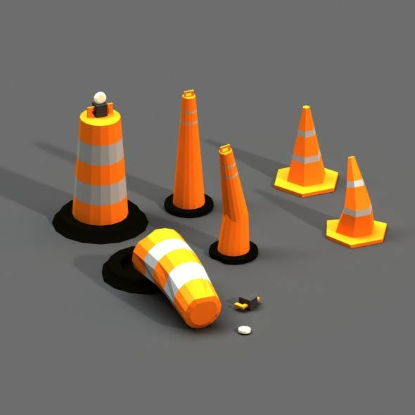 Post Apocalyptic Road Cones Pylons and Barrels - 3DOcean Item for Sale