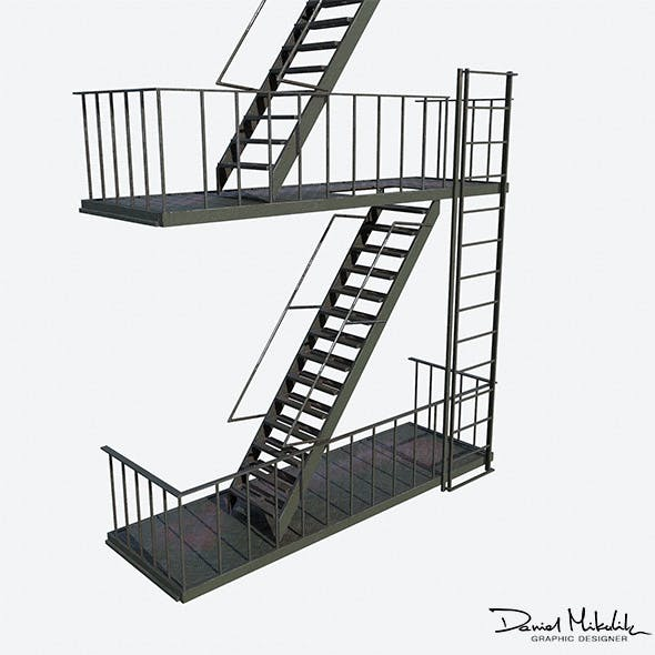 Fire Escape Stairs  Modular - 3DOcean Item for Sale