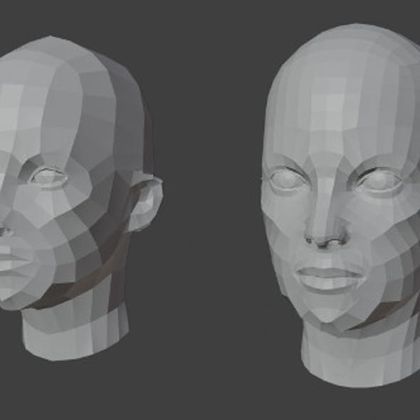 Female Heads Low-poly 3D Model