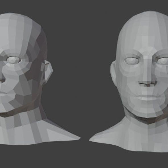 Male Heads Low-poly 3D Model