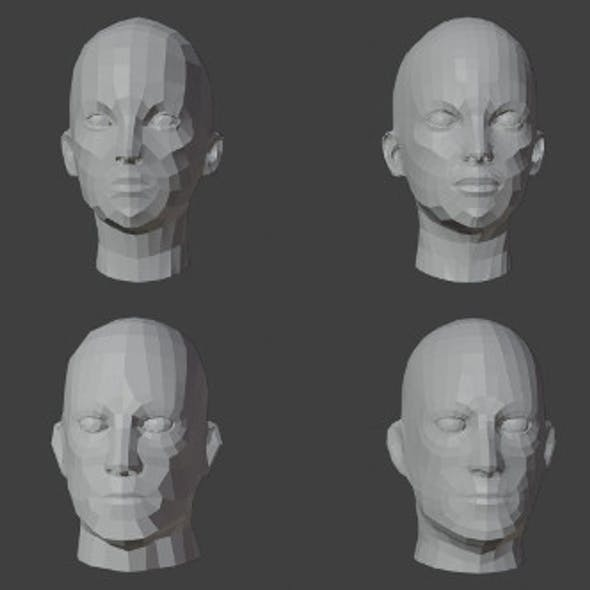 Human Heads Male Female Low-poly 3D Model