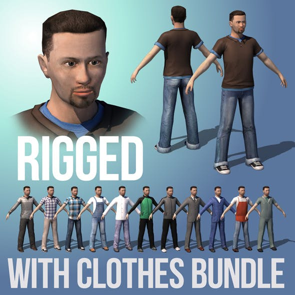 Male. Game ready rigged character with clothes bundle