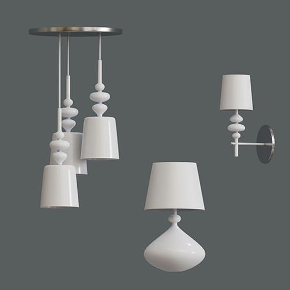 set of white lamps