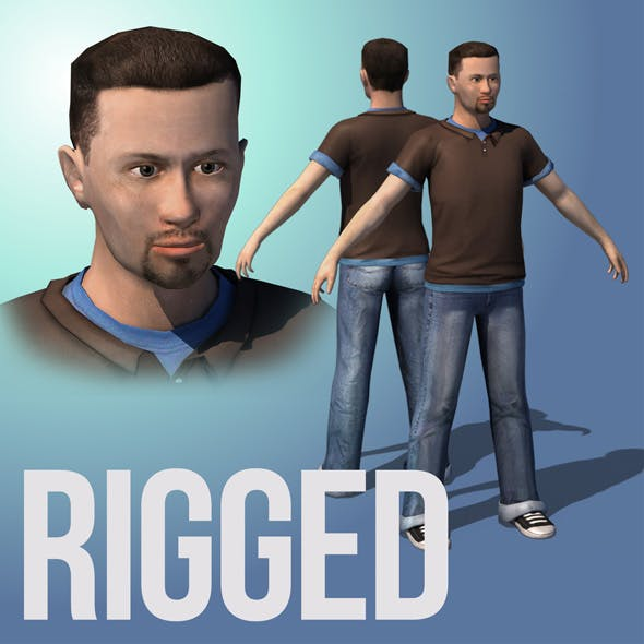 Male. Casual cloth. Game ready rigged character