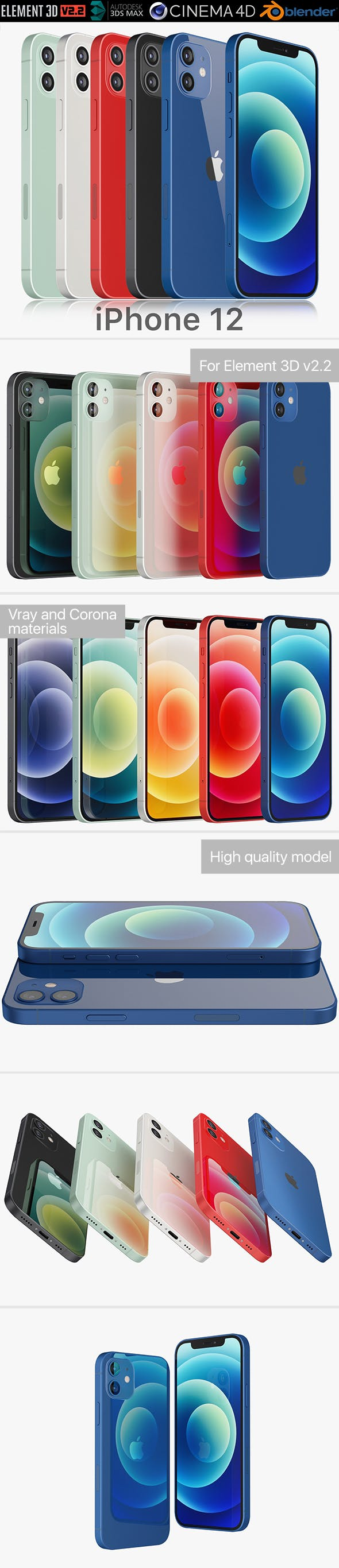 Apple iPhone 12 all colors - 3DOcean Item for Sale