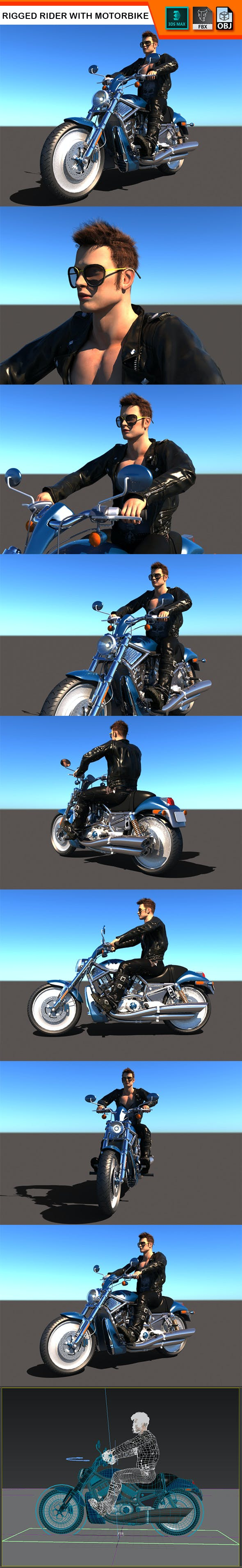 Rigged Rider with Motorbike Model - 3DOcean Item for Sale
