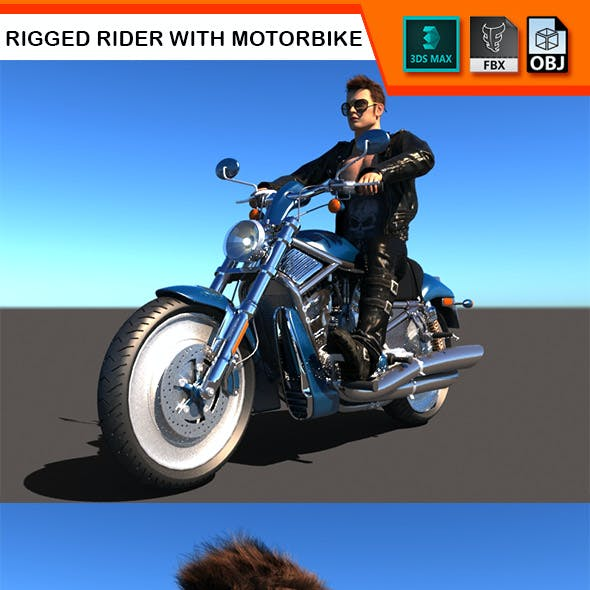 Rigged Rider with Motorbike Model