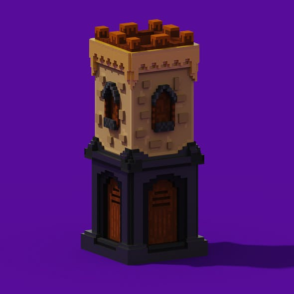Voxel Archer Tower Model 3D for Game