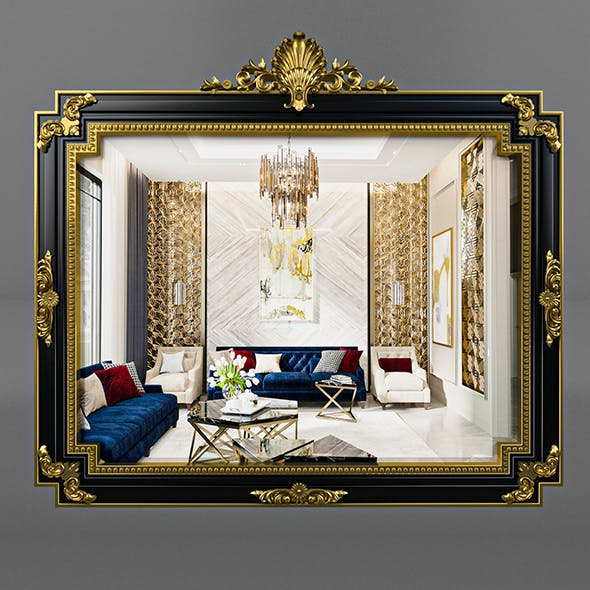 Classic Regency Style Black and Gold Mirror