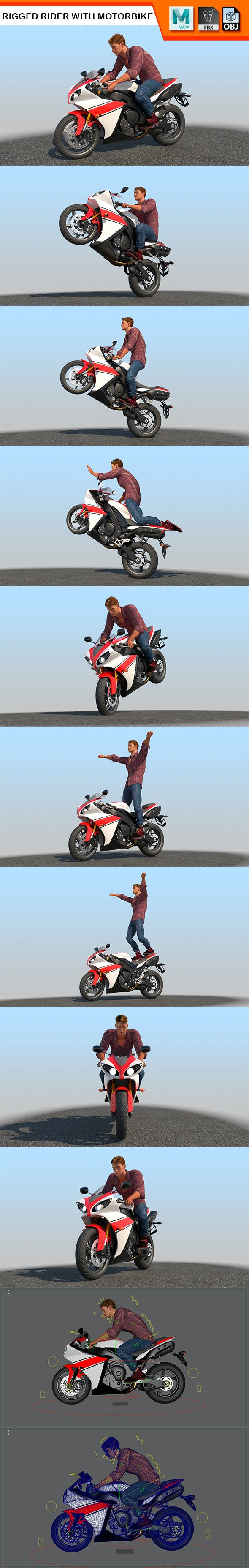 Full Rigged Rider with Motorbike Model - 3DOcean Item for Sale