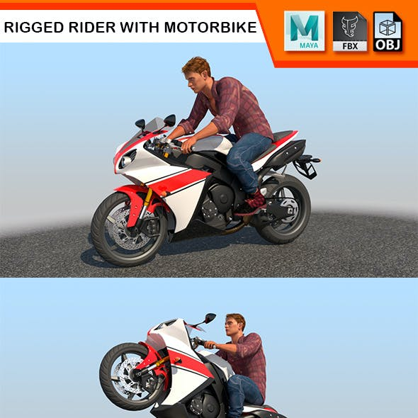 Full Rigged Rider with Motorbike Model