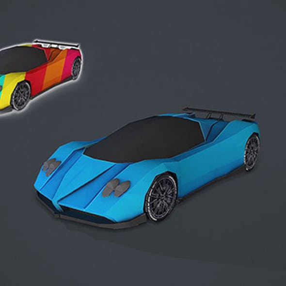 Stylized Hyper Car 01 - Low Poly Game Vehicle Car - Race Car Low-poly 3D model