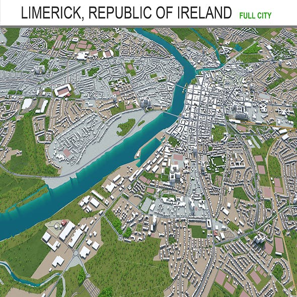 Limerick city Republic of Ireland 3d model 40km