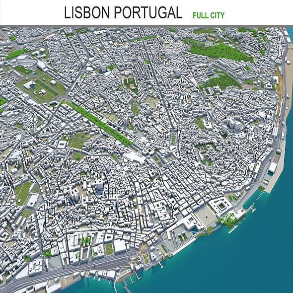 Lisbon city Portugal 3d model 40km