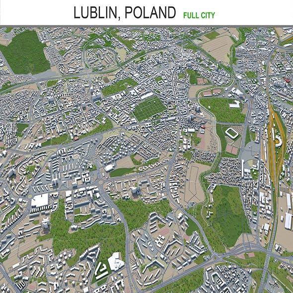 Lublin city Poland 3d model 40km