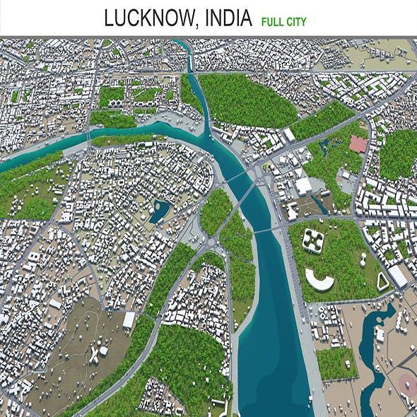 Lucknow city India 3d model 50km