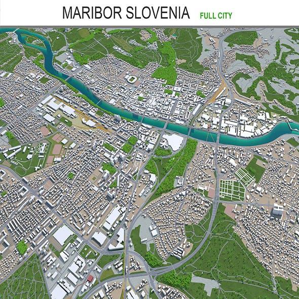 Maribor city Slovenia 3d model 30km