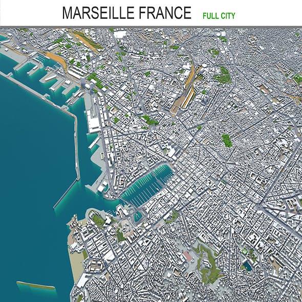 Marseille city France 3d model 50km