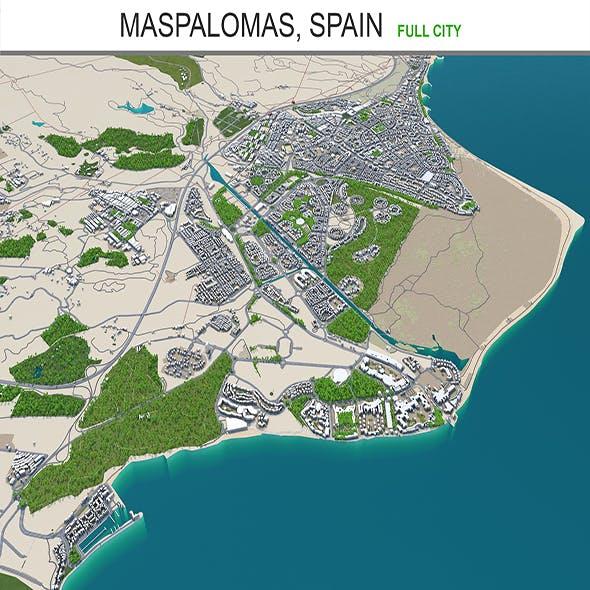 Maspalomas city Spain 3d model 30km