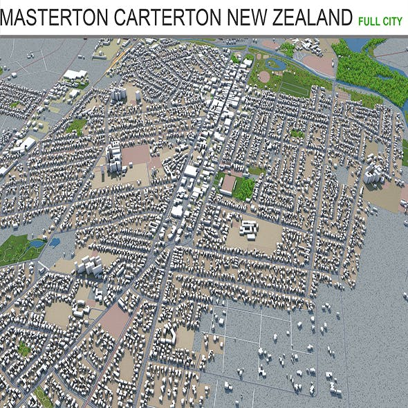 Masterton Carterton city New Zealand 3d model 130km