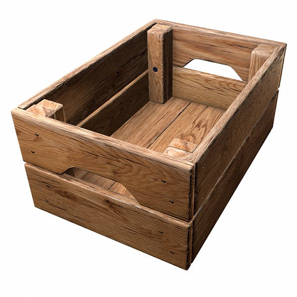 Realistic of wooden crate with PBR textures