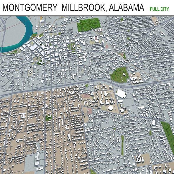 Montgomery city Alabama USA 3d model 60km