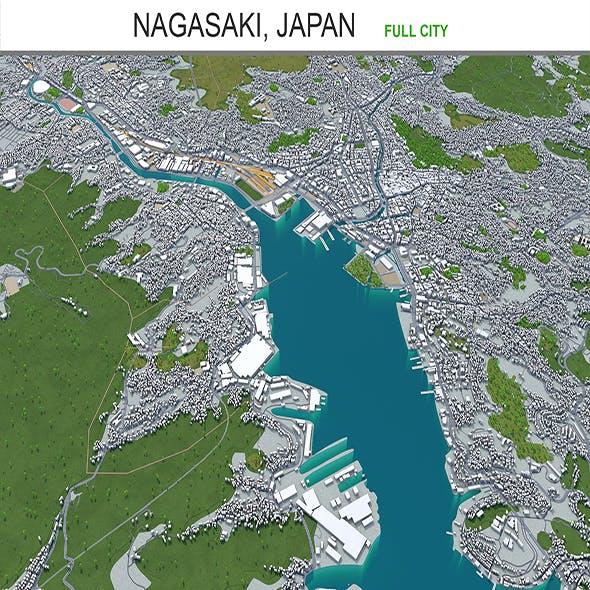 Nagasaki city Japan 3d model 60km