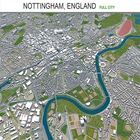 Nottingham city England 3d model 80km