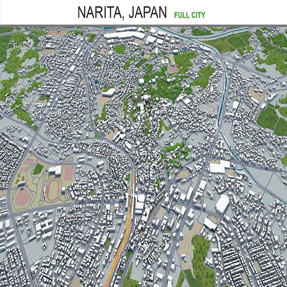 Narita city Japan 3d model 40km