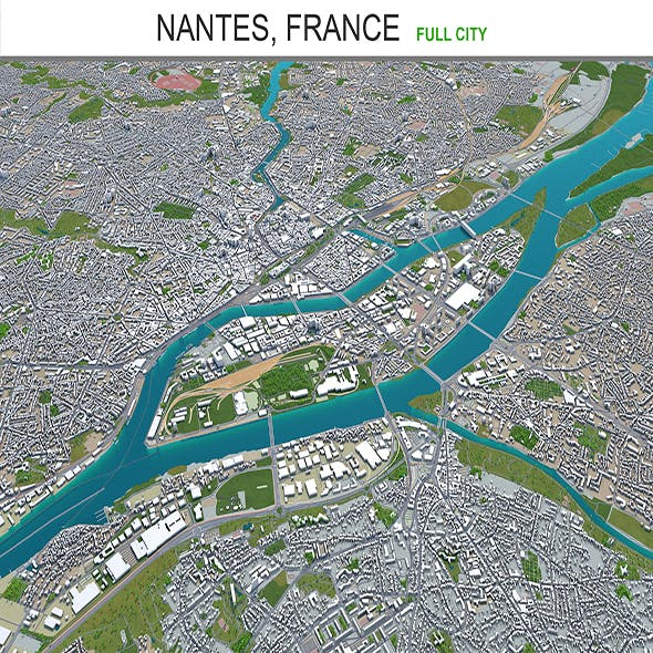 Nantes city France 3d model 60km