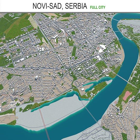 Novi Sad city Serbia 3d model 40km
