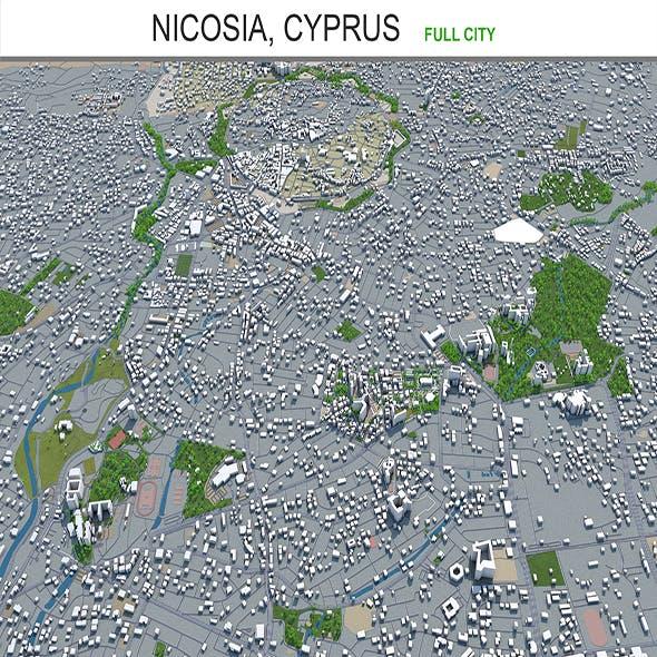 Nicosia city Cyprus 3d model 40km