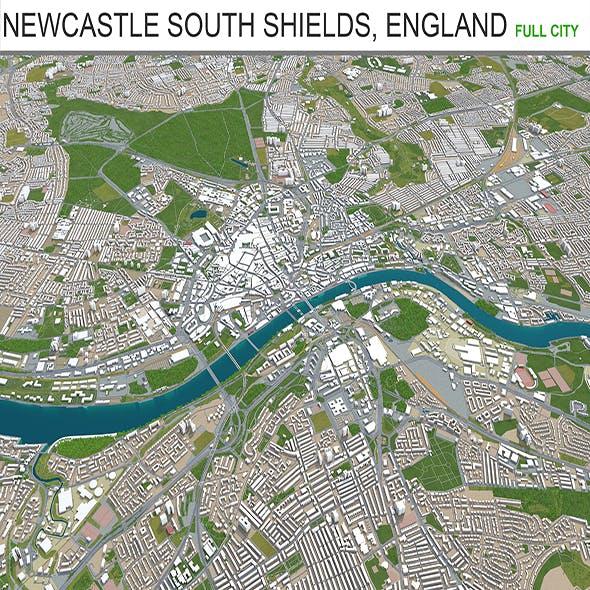 Newcastle South shields city England 3d model 60km