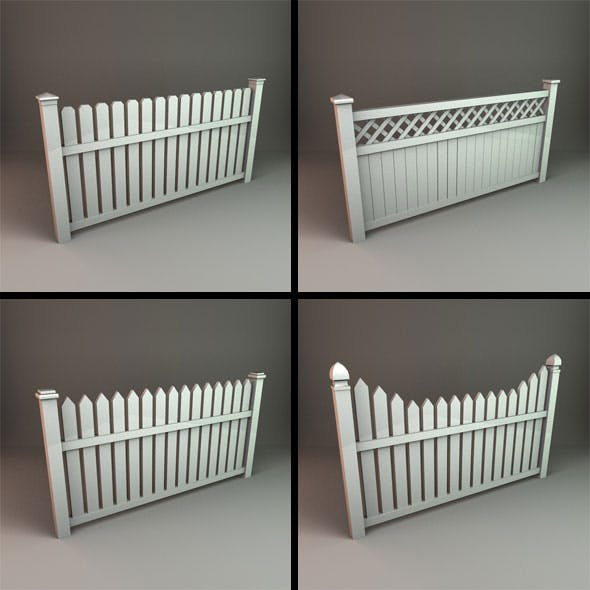 Wooden Picket Fence Panels - 3DOcean Item for Sale