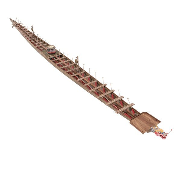Chinese traditional wooden dragon boat