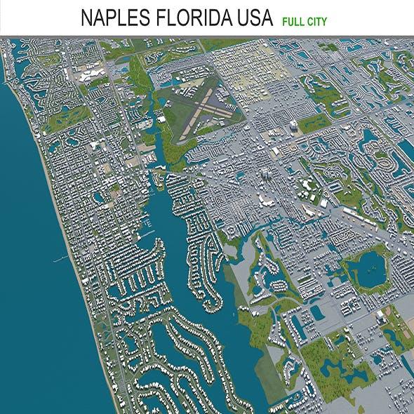 Naples city Florida USA 3d model 30km