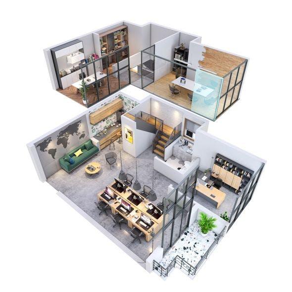 duplex Office apartment floorplan