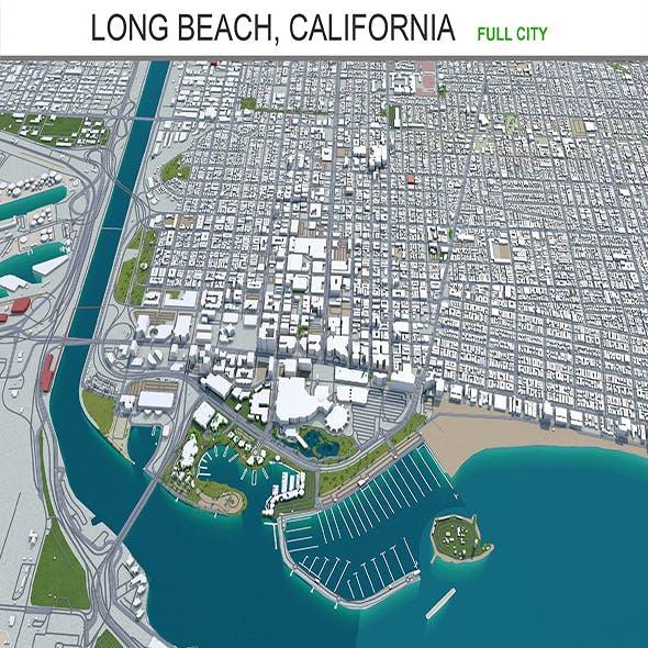 Long Beach city California 3d model 50km