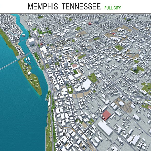 Memphis city Tennessee 3d model 90km