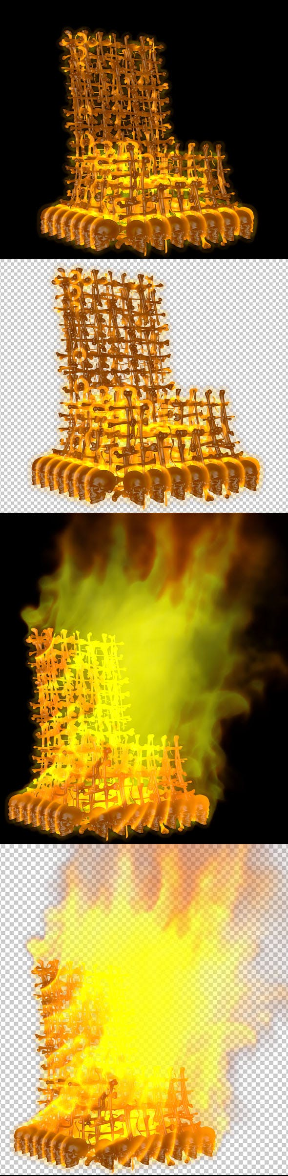 Chair Skeleton fiery - 3DOcean Item for Sale