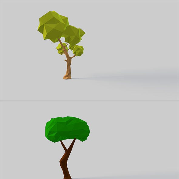 Low Poly Eight different trees