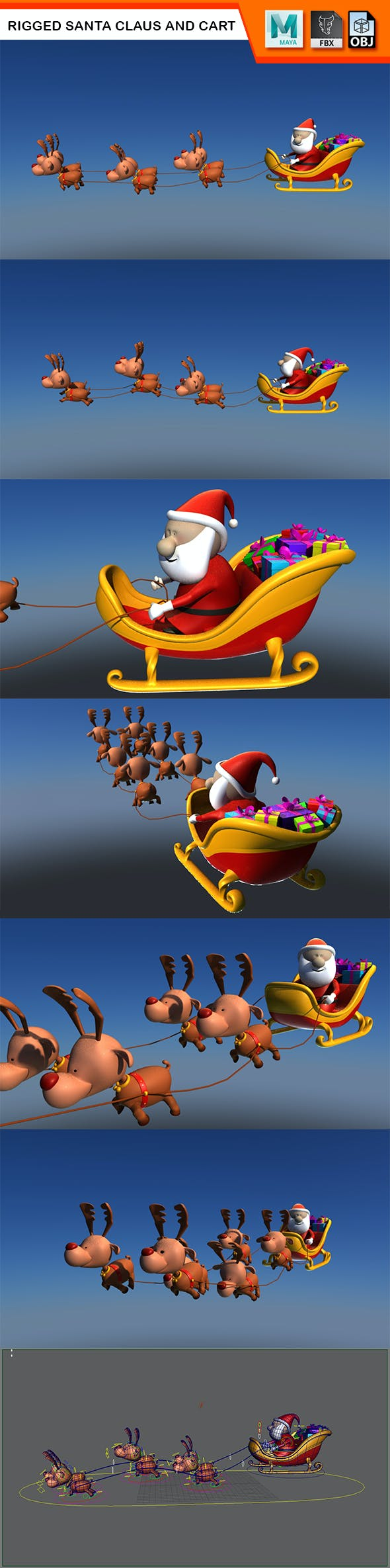 Rigged Santa Claus and Cart with Reindeers - 3DOcean Item for Sale