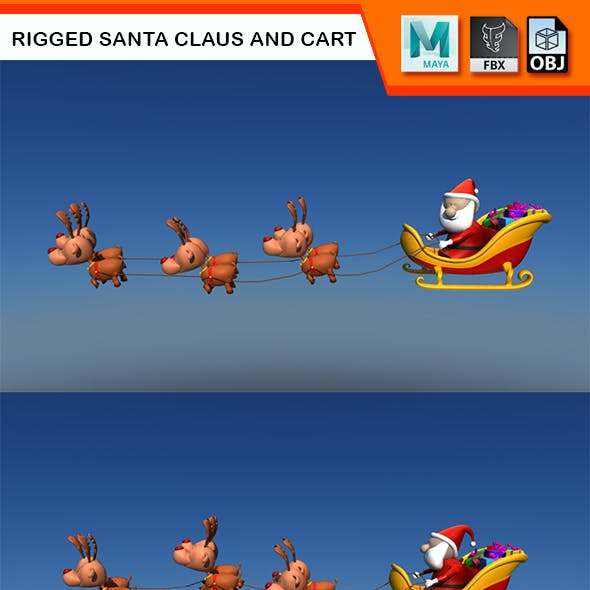 Rigged Santa Claus and Cart with Reindeers