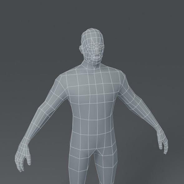 Male Body Base Mesh 3D Model 1000 Polygons