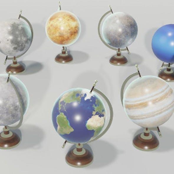 Solar System Planets Globes 3D Model