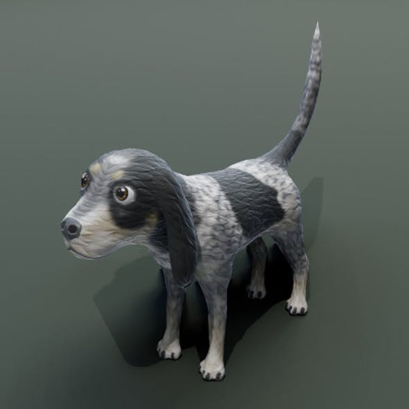 Cartoon Hound Dog 3D Model