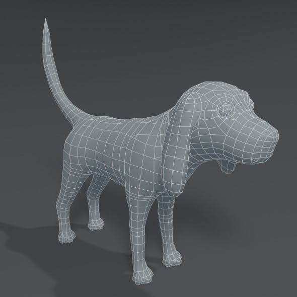 Cartoon Dog Hound Base Mesh 3D Model