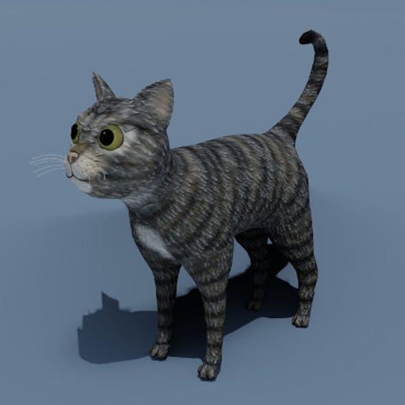 Cartoon Cat Brown Grey Striped 3D Model