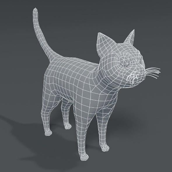 Cartoon Cat Base Mesh 3D Model