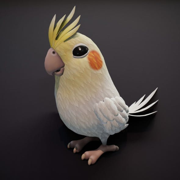 Cartoon Parrot Bird 3D Model
